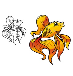 smiling goldfish vector image