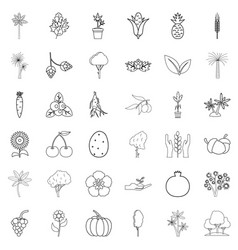 tree icons set outline style vector image vector image