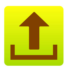 Upload sign brown icon at vector