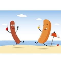 Hot-dog party on beach vector