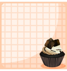 A stationery with a chocolate cupcake vector