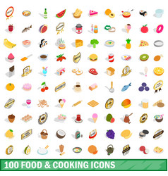 100 food and cooking icons set isometric 3d style vector