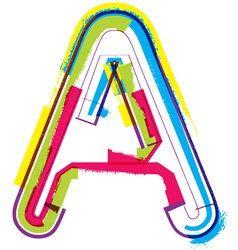 Colorful grunge font letter a vector
