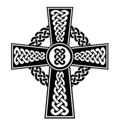 Celtic knot in the cross shape in black and white vector