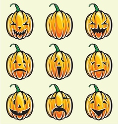 Holiday pumpkin jack lantern collection vector