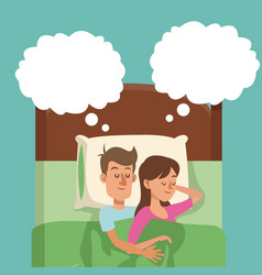 Sleeping couple in bed man hugs woman dream vector