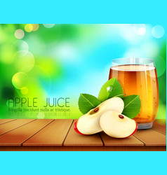 cup glass of apple juice with slices of apple vector image