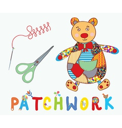 Patchwork background with teddy bear needle and vector