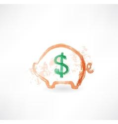 Pig moneybox grunge icon vector image
