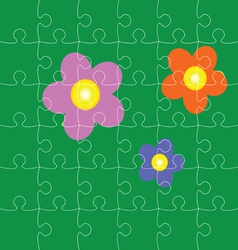 puzzles with flowers vector image