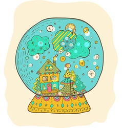 Snowglobe with decorated xmas town vector