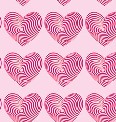 Pink hearts seamless patterns optical 3d vector