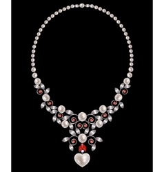 Pearl and rubies necklace vector