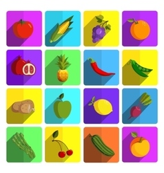 Modern fruits and vegetables icon set vector image