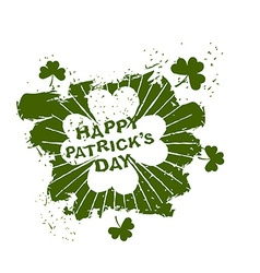 Happy Patricks day emblem grunge style Four leaf vector image