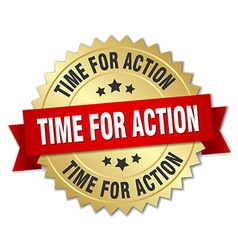Time for action 3d gold badge with red ribbon vector