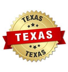 Texas round golden badge with red ribbon vector