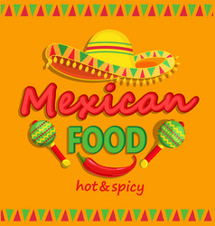 Mexican food flyer with traditional spicy vector