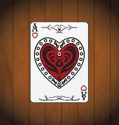 Ace hearts poker card varnished wood background vector