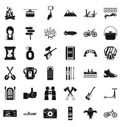 Adenture icons set simple style vector