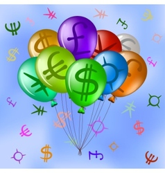 balloons with currency signs in sky vector image vector image