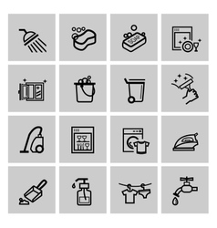 black cleaning icons set vector image