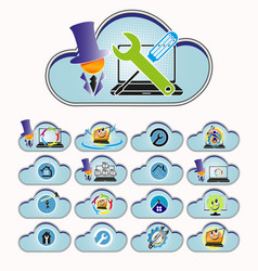 blue computer cloud set vector image vector image