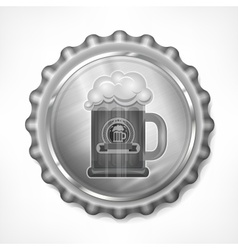 Bottle cap with beer mug vector