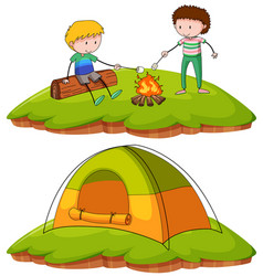 boys camping in the field vector image vector image