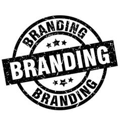 Branding round grunge black stamp vector