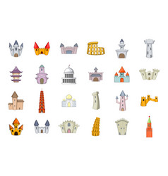 castle icon set cartoon style vector image