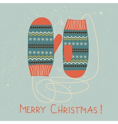 Christmas card with mittens vector
