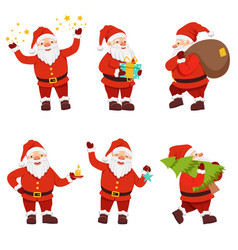 christmas characters collection of cute santa in vector image vector image