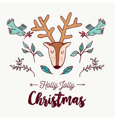 christmas cute hand drawn holiday forest deer vector image