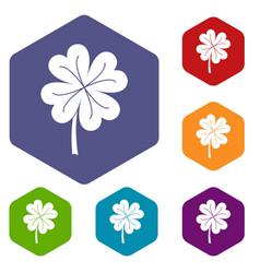 Clover leaf icons set hexagon vector