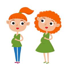 color cute cartoon pregnant vector image