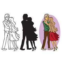 Couple in love hugging vector