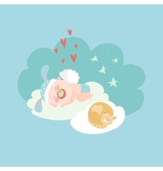 Cute baby angel sleeping with cat vector
