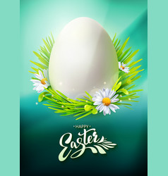 Easter egg hunt poster on blue vector