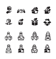 Hand and courier icon set vector