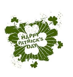 Happy Patricks day emblem grunge style Four leaf vector image