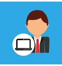 Laptop business man suit worker icon vector