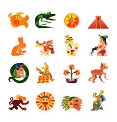 Maya Symbols Flat Icons Set vector image vector image