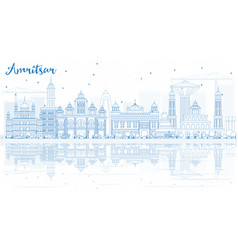 Outline amritsar skyline with blue buildings and vector