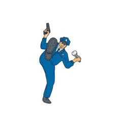 policeman gun flashlight torch kicking drawing vector image vector image