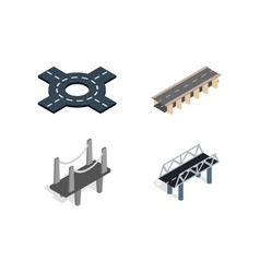 Road icon set isometric style vector