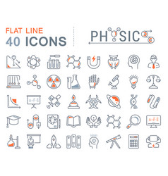 Set flat line icons physic vector