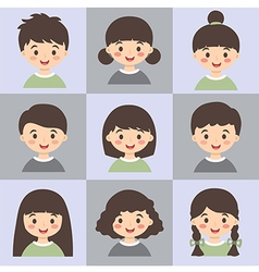 Set of Kids Face Avatar Army Green Gray vector image