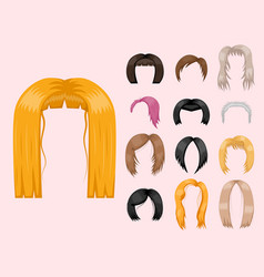 Set of woman hair styling vector