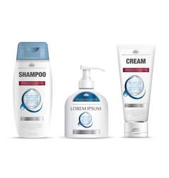Shampoo packaging cream tube soap bottle templat vector